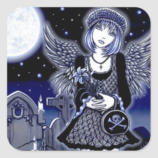 """Tabitha"" Blue Gothic Angel Art Sticker"