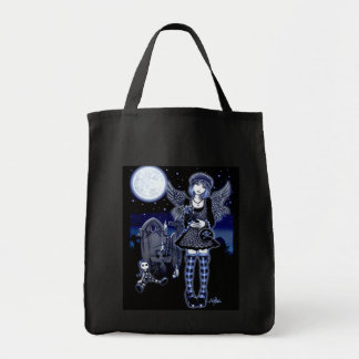 """Tabitha"" Gothic Guardian Angel Art Canvas Tote"