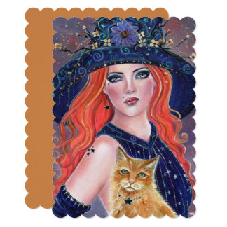 Tabitha Halloween witch and Kitty invitations