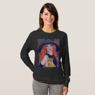 Tabitha Halloween witch and Kitty T shirt by Renee