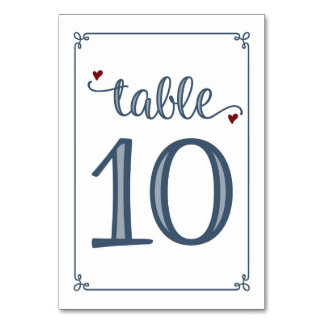 """Table 10"" Dusty Blue & Dark Red Card"
