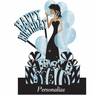 Table Cake Topper-Happy Birthday Girl- Aquamarine Cut Outs