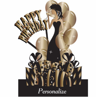 Table Cake Topper- Happy Birthday Girl - Bronze Acrylic Cut Outs