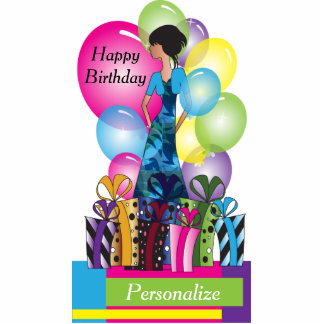 Table Cake Topper- Happy Birthday Girl - Colors Photo Sculpture