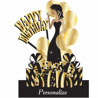 Table Cake Topper- Happy Birthday Girl - Gold Photo Cut Outs