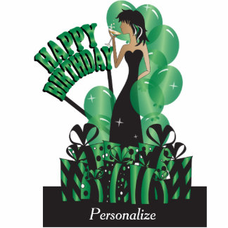 Table Cake Topper- Happy Birthday Girl - Green Photo Cutout