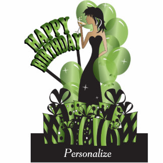 Table Cake Topper-Happy Birthday Girl- Peridot Photo Cut Outs