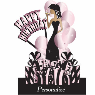 Table Cake Topper- Happy Birthday Girl - Pink Acrylic Cut Out
