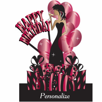 Table Cake Topper- Happy Birthday Girl - Ruby Photo Cutouts