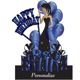 Table Cake Topper-Happy Birthday Girl- Sapphire Photo Cutout