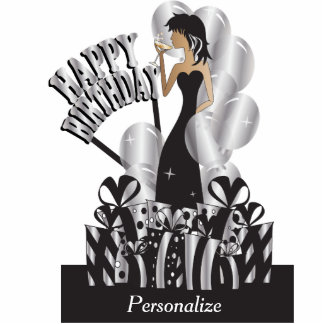 Table Cake Topper-Happy Birthday Girl- Silver Acrylic Cut Outs