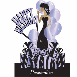 Table Cake Topper-Happy Birthday Girl- Tanzanite Cut Outs