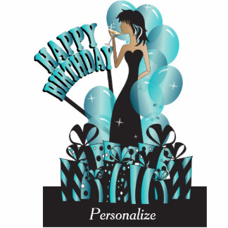 Table Cake Topper-Happy Birthday Girl- Turquoise Acrylic Cut Out