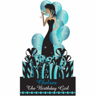 Table/Cake Topper- Personalize Party Girl -Blue Photo Cut Outs