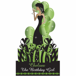 Table/Cake Topper- Personalize Party Girl -Green Photo Cut Outs