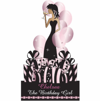 Table/Cake Topper- Personalize Party Girl -Pink Photo Cutouts