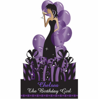 Table/Cake Topper- Personalize Party Girl - Purple Acrylic Cut Out