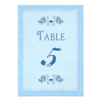 "TABLE CARD - ELEGANT BLUE - DOUBLE-SIDED 5"" X 7"" INVITATION CARD"