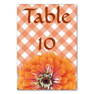 Table Card - Orange Zinnia on Lattice