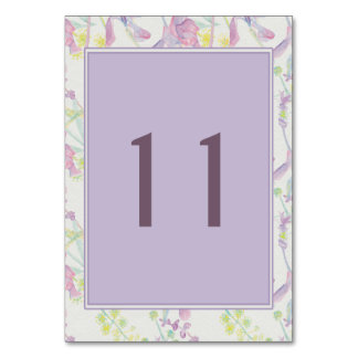 Table Card | Purple and Yellow Flowers