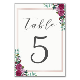 Table card watercolor floral frame
