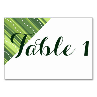 Table Card  Wedding Party Event Green Stripe