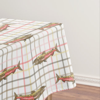 Table Cloth - Chinook Salmon on Plaid