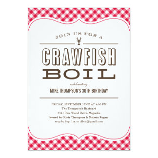 "Table Cloth Crawfish Boil Invitations 5"" X 7"" Invitation Card"