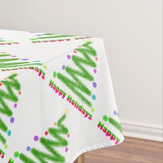 TABLE CLOTH - HAPPY HOLIDAYS CHRISTMAS TREE DESIGN TABLECLOTH