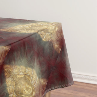 table coach golden buddha in dark red tablecloth