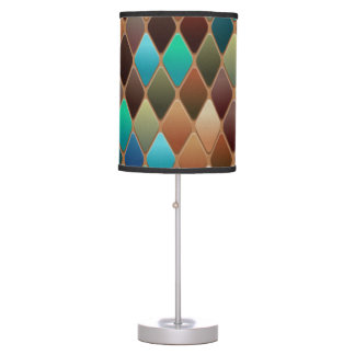 Table lamp w/multicolored mosaic tile print shade