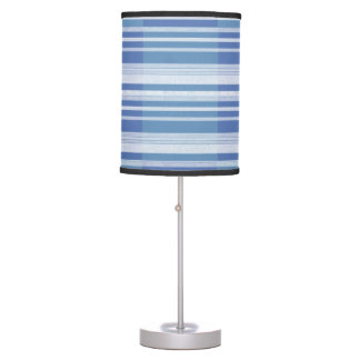 Table lamp with blue and white stripes on shade