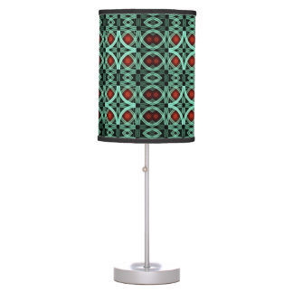Table lamp with kaleidoscope print on shade