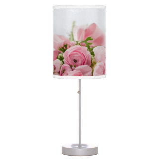 Table Lamp with pink soft roses