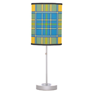 Table lamp with teal & yellow Scottish plaid print