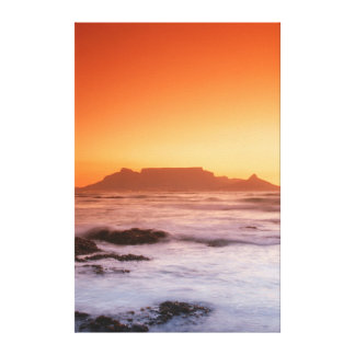 Table Mountain At Sunset, Bloubergstrand Stretched Canvas Prints