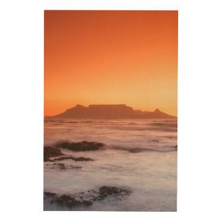 Table Mountain At Sunset, Bloubergstrand Wood Canvases