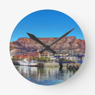Table Mountain from the Waterfront_Painting.TIF Round Clock
