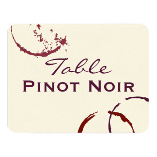 """Table Name Cards   Types of Wine Theme 4.25"""" X 5.5"""" Invitation Card"""