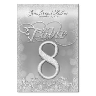 Table Number 8 Elegant Silver Faux Glitter Table Cards