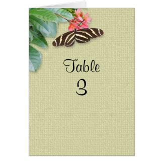 Table number butterfly and flowers greeting card