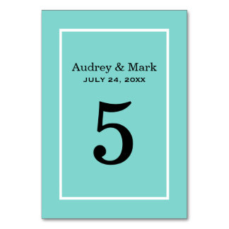Table Number Card | Aqua Blue Table Cards