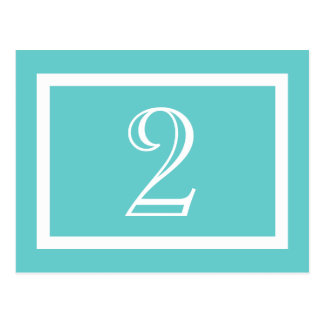 Table Number Card - Aqua - Customizable