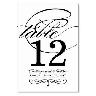 Table Number Card | Black Calligraphy Design Table Card
