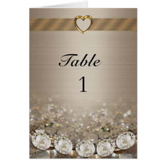 Table number Card diamonds and gold