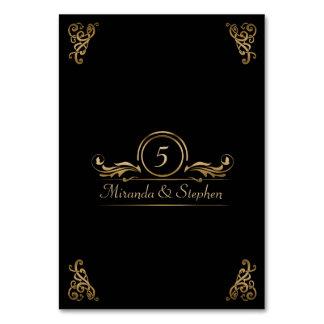 Table Number Card | Elegant Wedding Gold Black Table Card