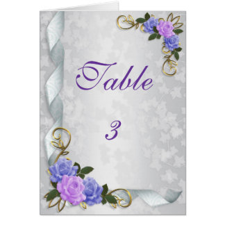 Table number card lavender and blue roses