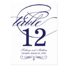 Table Number Card | Navy Blue Calligraphy Design