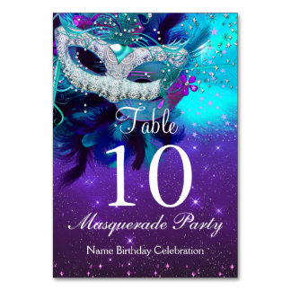 Table Number Card Teal Purple Feather Mask