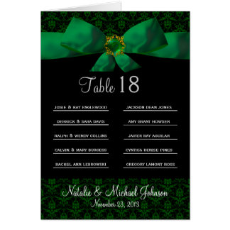 Table Number Card With Multiple Guest Spaces